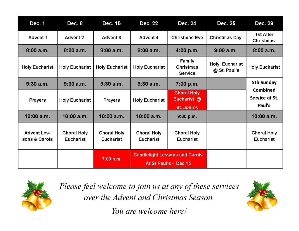 Schedule of Advent and Christmas Services at St Paul's - Fort Erie and St John's - Ridgemount