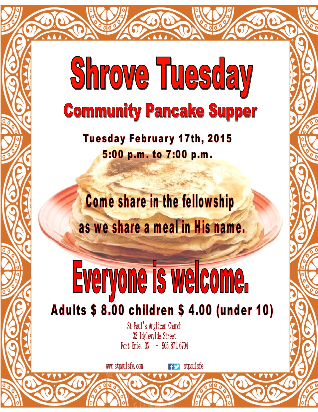 shrove tuesday pancake supper feb 17 2015