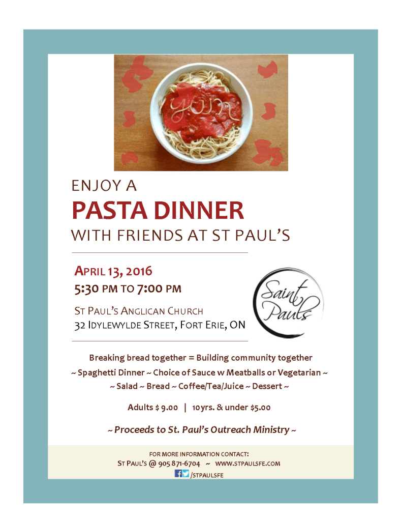 Join us for Spaghetti Pasta dinner
