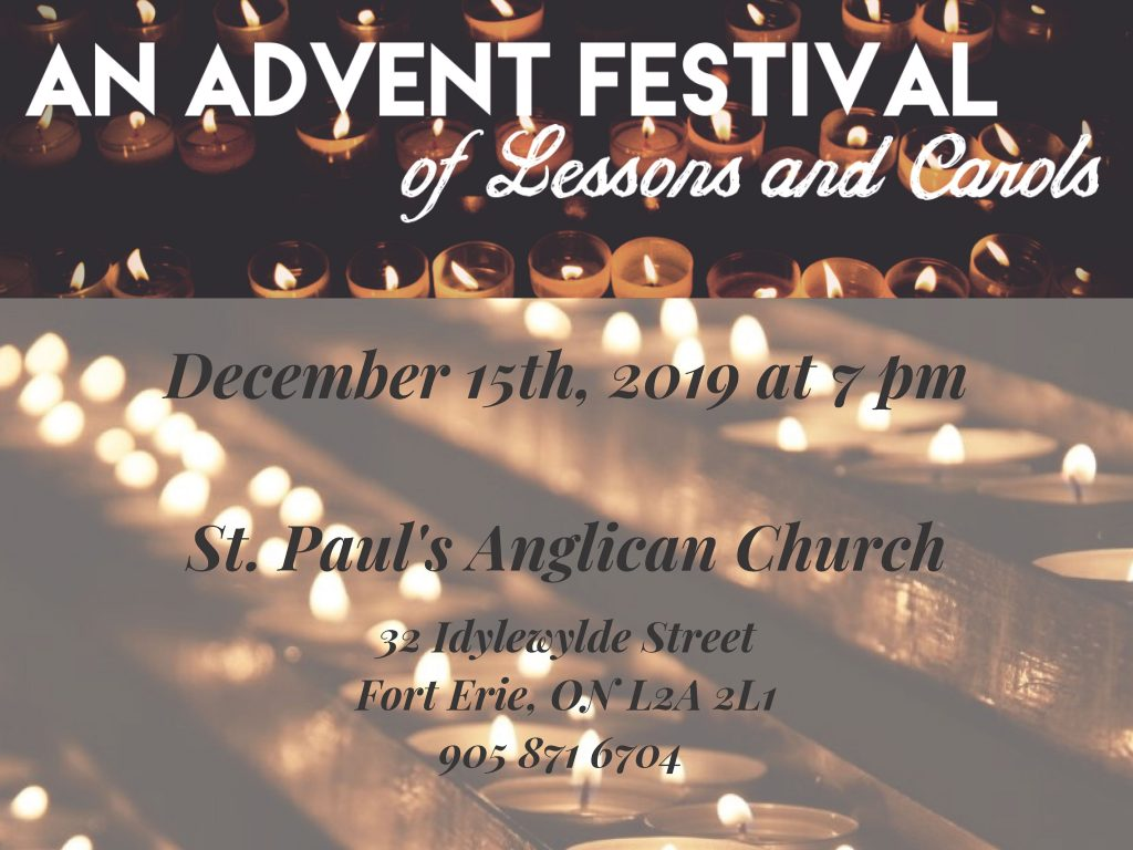 The Festival of Lessons and Carols is a service of Scripture and song that dates to the late 19th century.  In this service, we listen to nine Scripture lessons which recount the Fall, the promise of a Messiah, the Incarnation, and the Great Commission to preach the Good News.  Each lesson is followed by a carol or other song that reflects on the lesson's message and a brief prayer.