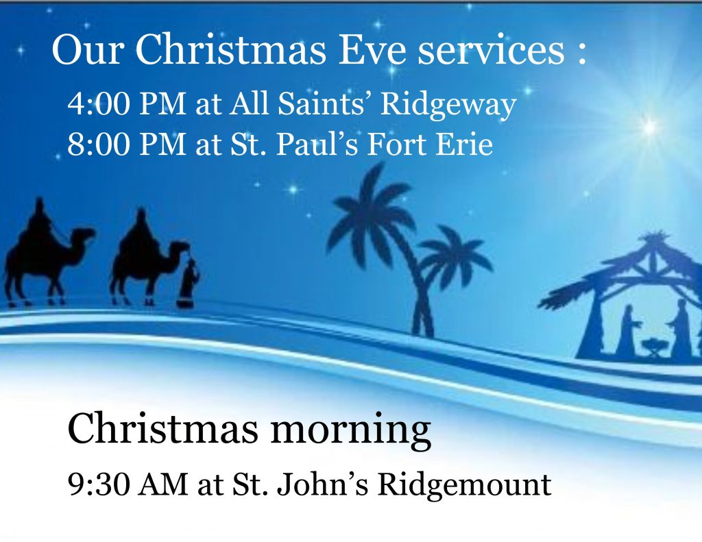 Christmas eve and Christmas morning service schedule